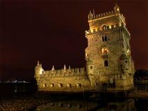 Torre en la noche, Lisboa de Belem Foto de archivo libre de regalías