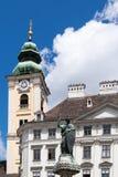 Torre escocesa de la abadía en el cuadrado de Freyung, Viena, Austria Fotografía de archivo libre de regalías