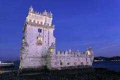 Torre famosa de Belem por noche Imágenes de archivo libres de regalías