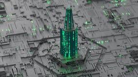 A torre feita da incandescência digital ENCANTA a ilustração da rendição do código 3D ilustração royalty free