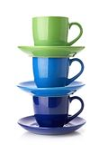 Torre feita dos copos coloridos Fotos de Stock Royalty Free