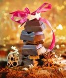 Torre festiva do chocolate Foto de Stock Royalty Free