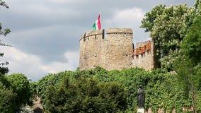 Torre forte con la bandiera ungherese Pecs stock footage