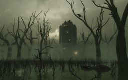 Torre frecuentada en el pantano Imágenes de archivo libres de regalías