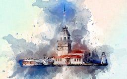 Torre fresca da menina - gráficos do t-shirt do peru de Istambul torre da menina - ilustração do peru de Istambul com a aquarela  ilustração stock