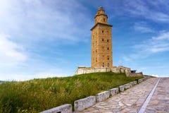 Torre Galicia España de Coruna Hércules del La imagen de archivo libre de regalías