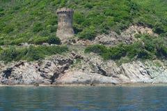 Torre Genoese em Córsega imagem de stock