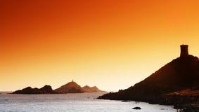 Torre Genoese en la isla sanguinaria Fotos de archivo libres de regalías