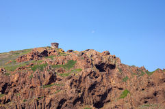 Torre Genoese na reserva natural de Scandola, patrimônio mundial do UNESCO Imagem de Stock Royalty Free