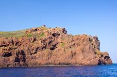 Torre genovese alla riserva naturale di Scandola, patrimonio mondiale dell'Unesco Immagini Stock Libere da Diritti