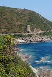 Torre genovese in costa corsa Fotografia Stock Libera da Diritti
