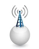 Torre inalámbrica con las ondas de radio Fotos de archivo libres de regalías