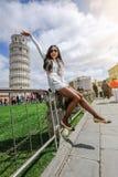 A torre inclinada de Pisa, Italy Foto de Stock Royalty Free