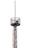 Torre industrial oxidada do holofote isolada Fotos de Stock Royalty Free