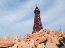 Torre Inglaterra de Blackpool en una escena apocalíptica de los posts urbanos Foto de archivo libre de regalías