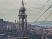 Torre Jaume I funicular with two cableway cars, Barcelona Stock Photos
