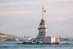 Torre Kiz Kulesi delle ragazze a Bosphorus, Costantinopoli Uno dei simboli di Costantinopoli Fotografie Stock