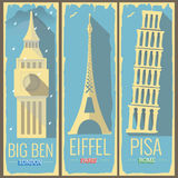 Torre Londra di Big Ben, torre Eiffel Parigi e torre Roma di Pisa Immagini Stock