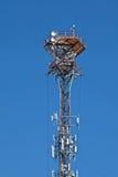 Torre móvil celular del polo de la transmisión de radio Foto de archivo libre de regalías