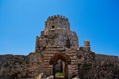 Torre medieval do castelo de Methoni, Peloponnese, Grécia fotografia de stock
