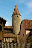 Torre medieval en el der Tauber, Alemania del ob de Rothenburg Fotografía de archivo libre de regalías