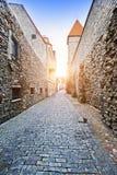 Torre medieval, peça da parede da cidade, Tallinn, Estônia foto de stock