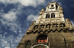 Torre medievale del campanile di Bruges, Belgio Immagini Stock Libere da Diritti