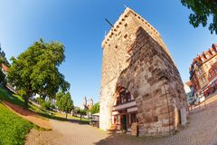 Torre medievale di Schelztorturm in Esslingen, Germania Fotografia Stock