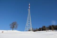 Torre Mitterberg di radiodiffusione del paesaggio di inverno Fotografie Stock