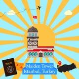 Torre nubile del ` s - Costantinopoli, Turchia illustrazione vettoriale