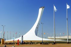 Torre olímpica de la caldera en Sochy, Rusia imagen de archivo libre de regalías
