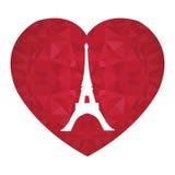 Torre París de Eifel del vector el día de tarjetas del día de San Valentín del St Ruby Red Heart Símbolo del amor Perfeccione par Imagen de archivo