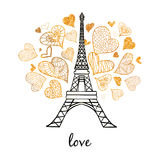 Torre París de Eifel del vector que estalla con los corazones de oro del día de tarjetas del día de San Valentín del St del amor  stock de ilustración