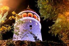 Torre, parede & árvores de Istambul Galata Imagem de Stock