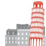 Torre pendente di Pisa sui precedenti della città illustrazione di stock