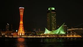 Torre portuária de Kobe na noite da cidade no Japão filme