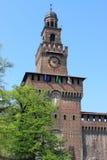 Torre principale del castello di Sforzesco Immagine Stock