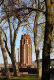 Torre roja vista a través de árboles Imagen de archivo
