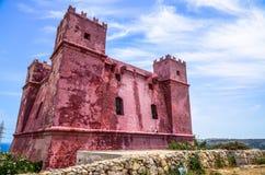 Torre rossa del ` s della st Agatha in Melieha, Malta Immagine Stock