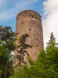 Torre rotonda del castello di Zebrak Immagini Stock