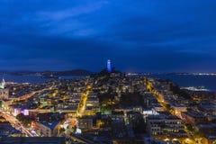 Torre San Francisco Night di Coit Fotografia Stock Libera da Diritti