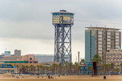Torre San Sebastia tower, Barcelona, Spain Stock Photos