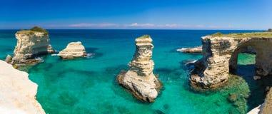 Torre Sant Andrea cliffs, Salento peninsula, Apulia region, South of Italy. Torre Sant Andrea cliffs near Otranto, beautiful sea view, Salento peninsula, Apulia Royalty Free Stock Photography