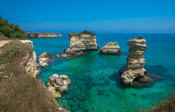 Torre Sant'Andrea, Rocky beach in Puglia, Italy Royalty Free Stock Photos