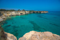 Torre Sant'Andrea, Rocky beach in Puglia, Italy Stock Images