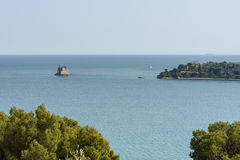 Torre Scuola tiny island and Palmaria promontory Royalty Free Stock Image