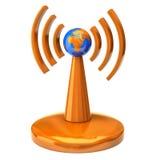 Torre sem fio com ondas de rádio Fotografia de Stock Royalty Free
