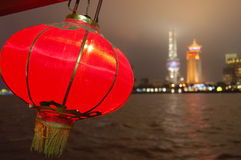 Torre Shangai de la TV en la noche Imagen de archivo
