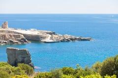 Torre sterben Miggiano, Apulien - Überblick über der Bucht von Torre MI stockfotos