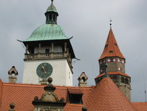 Torre sul castello storico Bouzov Fotografia Stock